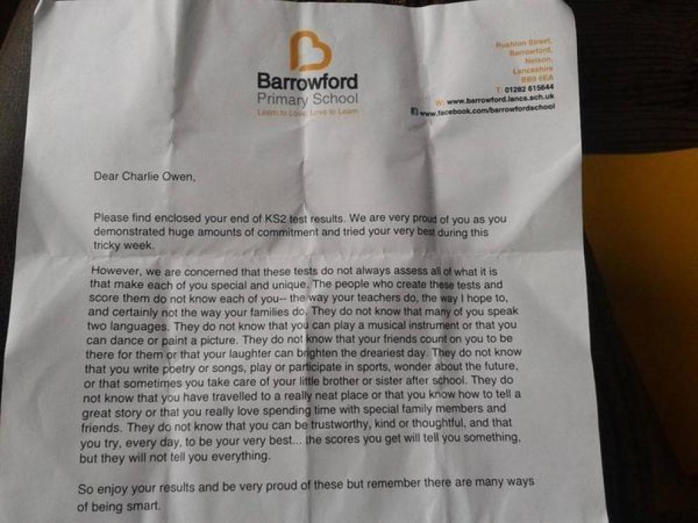 Carta encontrada en Twitter enviada por el colegio Barrowford a sus alumnos.